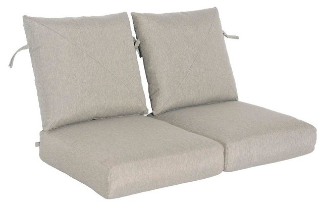 hampton bay cushions marwood replacement outdoor loveseat cushion light gray contemporary. Black Bedroom Furniture Sets. Home Design Ideas