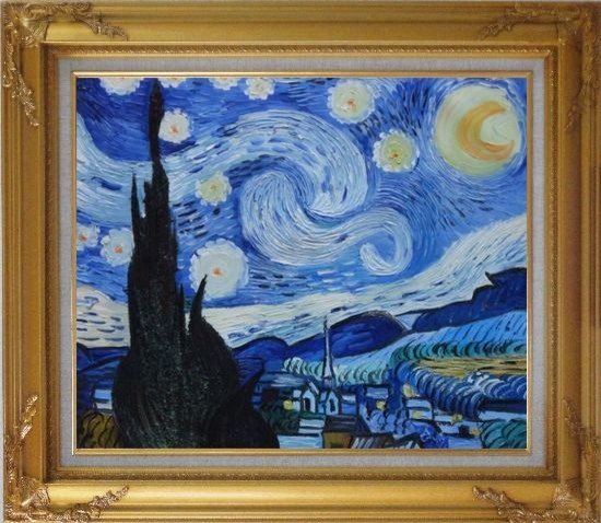 Framed the starry night van gogh reproduction oil for Framed reproduction oil paintings
