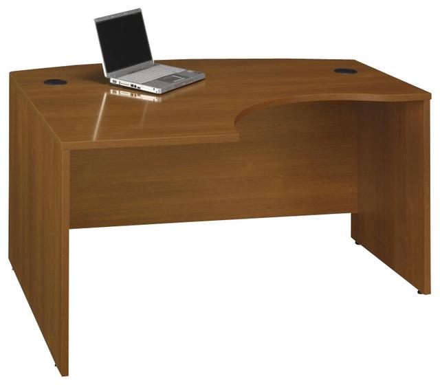 "Bush Series C 60""W x 43""D LH L-Bow Desk Shell in Warm Oak transitional-desks-and-hutches"