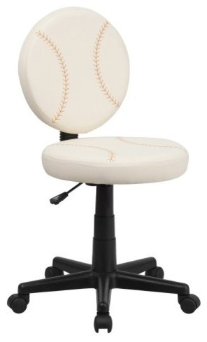 Flash Furniture Baseball Task Chair - White eclectic task chairs