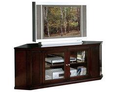 Monarch Specialties 62 Inch Corner TV Stand in Cappuccino transitional-media-storage