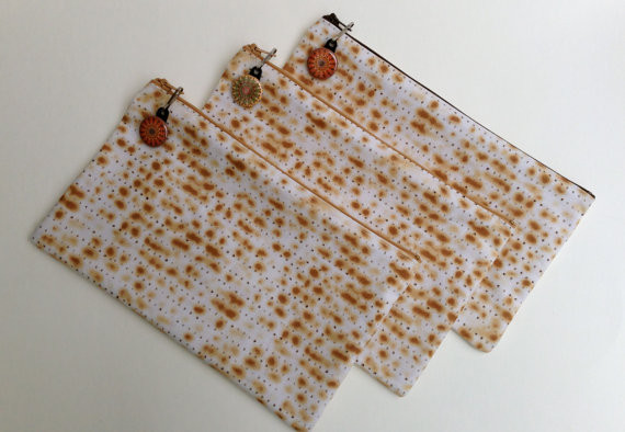 Passover Matzo Afikomen Zippered Bag by Rebecca Parmet Designs eclectic holiday decorations