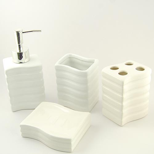 White morden designed ceramic bath accessory set for Ceramic bath accessories