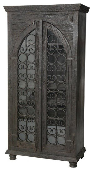 MOTI Furniture - Pampa Glass Front Door Tall Wine Cabinet - 95021006 - Traditional - Wine And ...