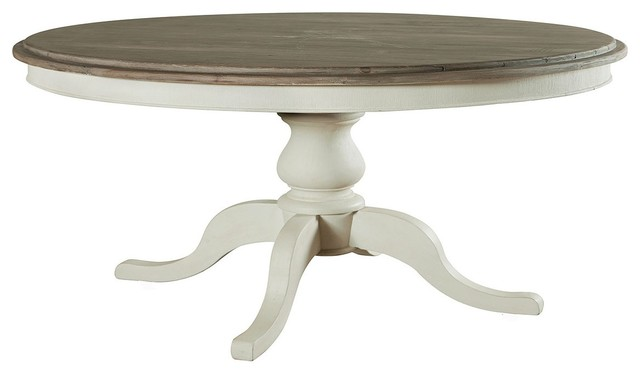 "Cottage 60"" Round Pedestal White Kitchen Table Beach"