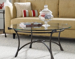 Hammary Sutton Round Glass Top Coffee Table traditional-coffee-tables