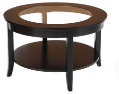 Bianco Collection Black 30-inch Round Glass Top Coffee Table contemporary-coffee-tables