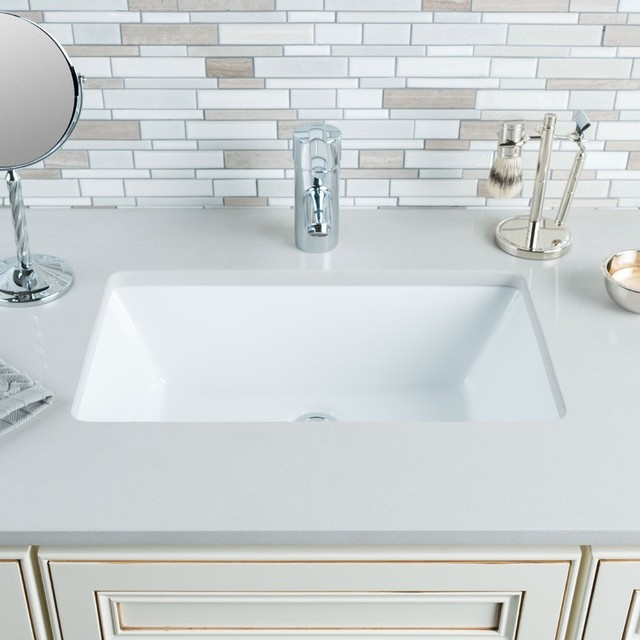 Hahn Ceramic Medium Rectangular Bowl Undermount White Bathroom Sink Contemp