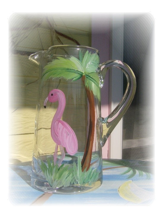 Seaside Living: Hand Painted Flamingo Beachy Iced Tea Pitcher - This large glass pitcher has been features a hand painted pink flamingo and palm tree. Impress your guests as you serve cold drinks at your next summer get together at the beach!