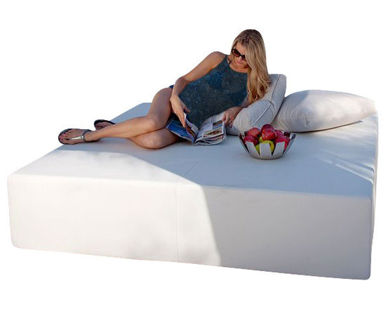 Home Infatuation - Play Pad Outdoor Daybed - For sunbathing, lounging or entertaining the simplistic, modern design of the patented Play Pad daybed is a perfect fit for patio, poolside or deck.