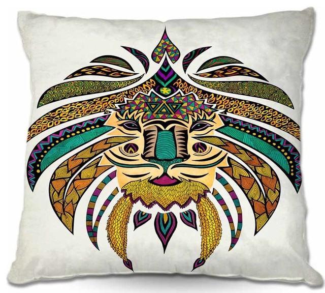 Pillow Woven Poplin from DiaNoche Designs - Emporer Tribal Lion I contemporary-decorative-pillows