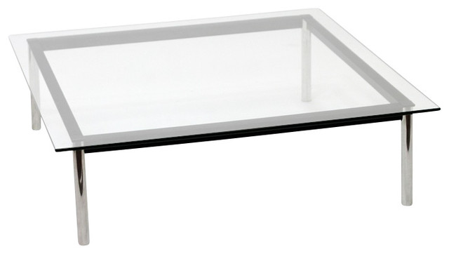 Cube Clear Glass Top Coffee Table 48 L X 48 W X 16 H Modern Coffee Tables By Ba Furniture