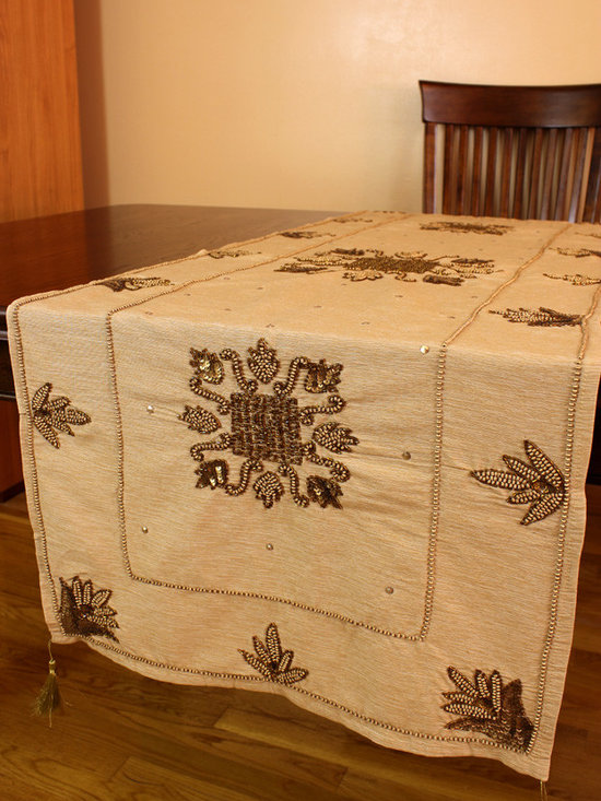 """Elegant Table Runners - Light Gold color. """"Medieval Royalty"""" table runner. Hand crafted beautifully in India. Gold"""