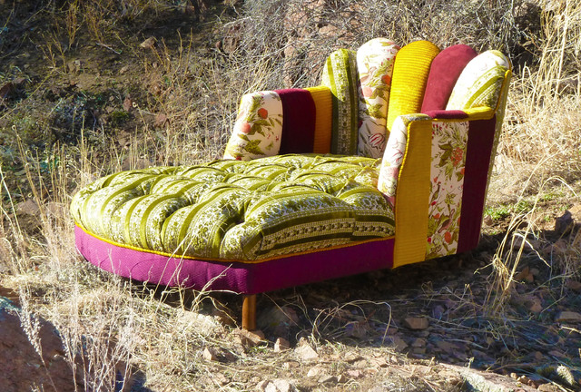 Vintage Patchwork Channel Tufted Chaise Lounge eclectic