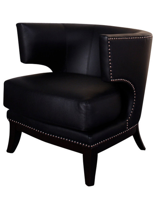 Armen Living - Eclipse Club Chair, Black Vinyl With Nailhead Accents, Espresso Wood Finish - Dynamic design gives this black vinyl covered club chair a real retro look, with accenting nailheads, for that contemporary room setting. Armen Living is the quintessential modern-day furniture designer and manufacturer. With flexibility and speed to market, Armen Living exceeds the customer s expectations at every level of interaction. Armen Living not only delivers sensational products of exceptional quality, but also offers extraordinarily powerful reliability and capability only limited by the imagination. Our client relationships are fully supported and sustained by a stellar name, legendary history, and enduring reputation. The groundbreaking new Armen Living line represents a refreshingly innovative creative collaboration with top designers in the home furnishings industry. The result is a uniquely modern collection gorgeously enhanced by sophisticated retro aesthetics. Armen Living celebrates bold individuality, vibrant youthfulness, sensual refinement, and expert craftsmanship at fiscally sensible price points. Each piece conveys pleasure and exudes self expression while resonating with the contemporary chic lifestyle.