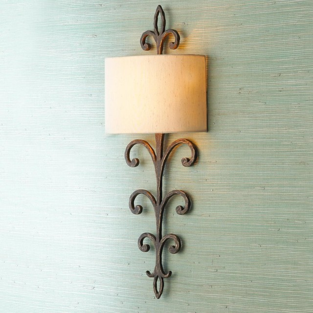 Wall Sconces Iron : Hammered Bronze Iron Wall Sconce - Wall Sconces - by Shades of Light
