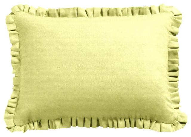 Green Ruffle Throw Pillow : Green Ruffle Throw Pillow - Contemporary - Decorative Pillows - new york - by Loom Decor