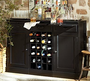 Modular Bar Buffet 2 Cabinet Bases 1 Wine Grid Base Black Traditional Wine And Bar