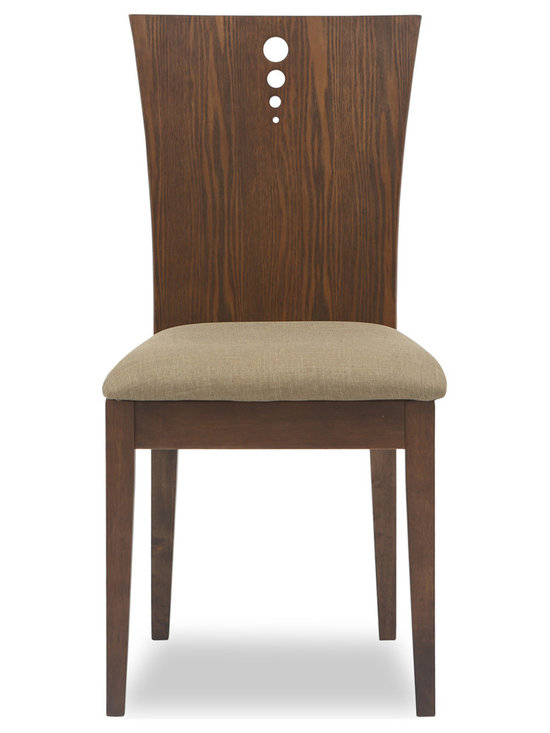 Bryght - Flora Latte Fabric Upholstered Cocoa Dining Chair - The Flora dining chair offers sophistication with a modern twist with its beautifully grained flared back design. The two-dimensional curved backrest accentuated by three solid stainless steel bolts and a firm padded seating offers sturdiness with dependable comfort.