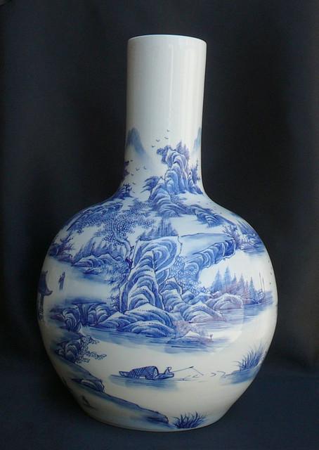 Porcelain Blue & White Mountain Scenery Vase asian-vases
