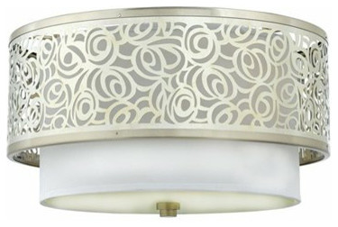 Quoizel Two-Light Josslyn Medium Flush Mount Ceiling Light, Brushed Nickel contemporary ceiling lighting