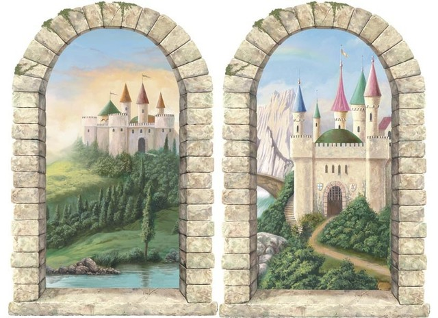 Castle window pre pasted wall mural set of 2 modern for Castle window mural