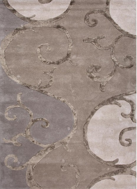 Handmade Abstract Pattern Taupe/ Ivory Wool/ Art Silk Rug (9 x 12) contemporary-rugs