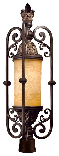 "Glenhaven 29"" High Antique Iron Outdoor Post Light traditional-post-lights"