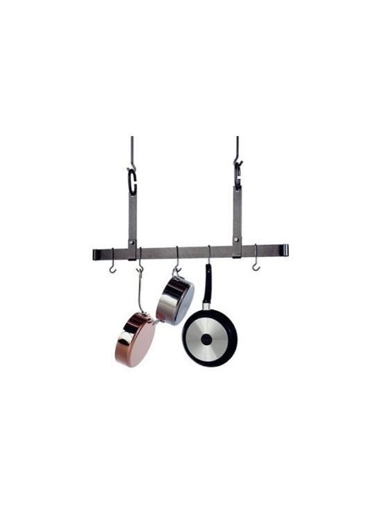 "Enclume - Premier 36 Inch Adjustable Ceiling Pot Rack, Hammered Steel - Dimensions: 36""W x 19.5""H"