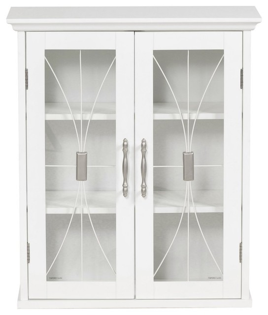 Elegant Home Delaney White Wall Cabinet with 2 Doors modern-medicine-cabinets