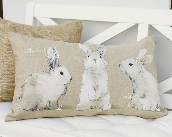 Watercolor Bunny Lumbar Pillow Cover -