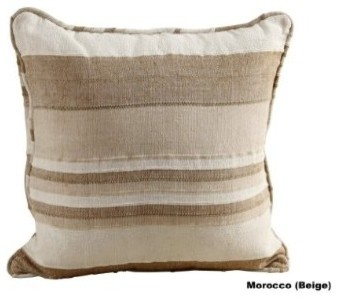 Morocco Striped filled Cushion Beige modern pillows
