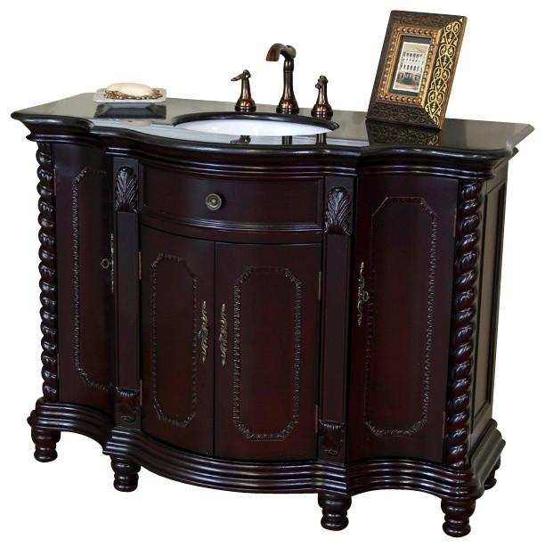 48 Inch Single Sink Vanity-Wood-Dark Mahogany-Black Galaxy - Modern - Bathroom Vanities And Sink ...