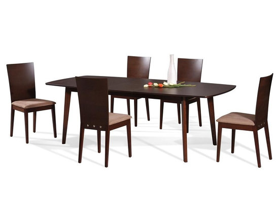 New Spec - Café 47 7 Pc Dining Set w Table & Chairs - Includes table and 6 chairs. Color/Finish: Brown. Material: Beech/Rubberwood. Extended Leaf.  . . Table: 70.86-88.18 in. L x 39.37 in. W x 29.13 in. H (175 lbs). Chair: 18.11 in. W x 20.07 in. D x 37 in. H. Seat Height: 19.21 in.