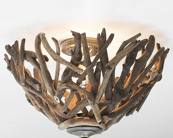 Reclaimed Driftwood Basket Ceiling Light -