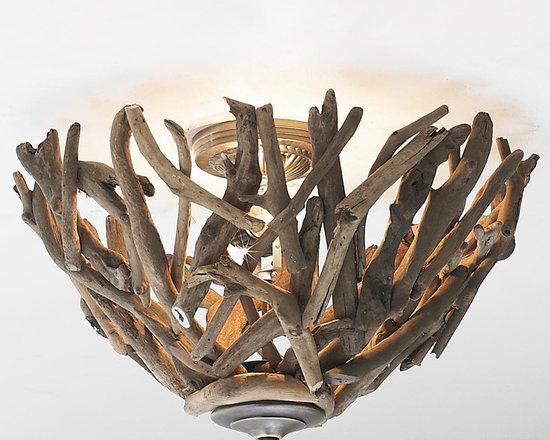 Reclaimed Driftwood Basket Ceiling Light -