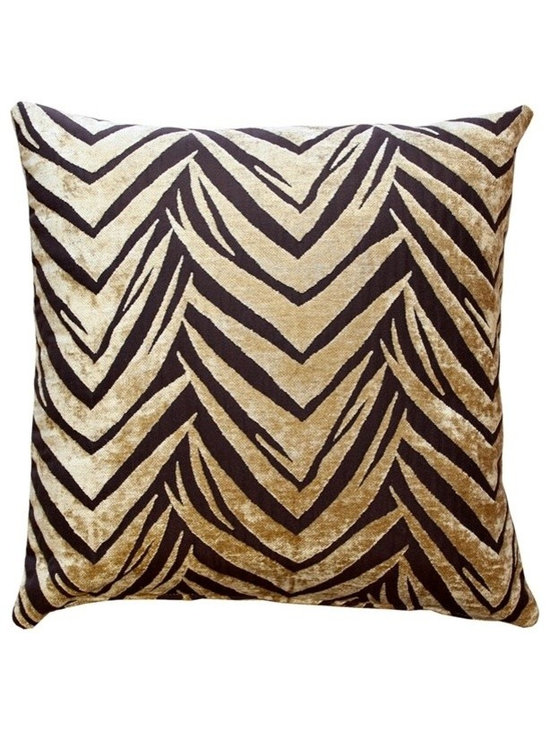 Pillow Decor - Pillow Decor - Samba Throw Pillow - The Samba Throw pillow features a soft chenille in woven into a deep brown background fabric. This contemporary design combines the visual appeal of a classic zigzag pattern with the suggestion of tiger stripes.