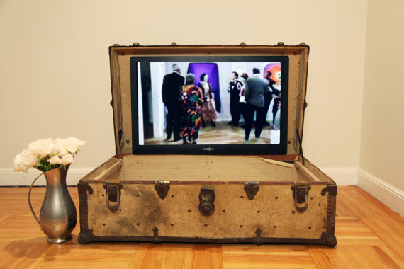 Redesigned Steamer Trunk TV Stand by San Fran Studios - Eclectic - Decorative Trunks - by Etsy