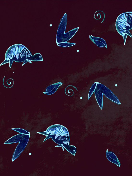 Midnight Turtle French Roast Designer Fabric - Whimsical Midnight turtles, leaves, dots and swirls on tone on tone to mix & match. Perfect for tabletop, bedding, pillows, children's and more.