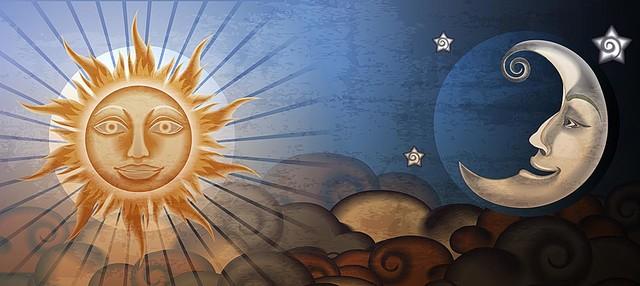 Sun And Moon Fresco Panorama Wall Mural -- Self-Adhesive