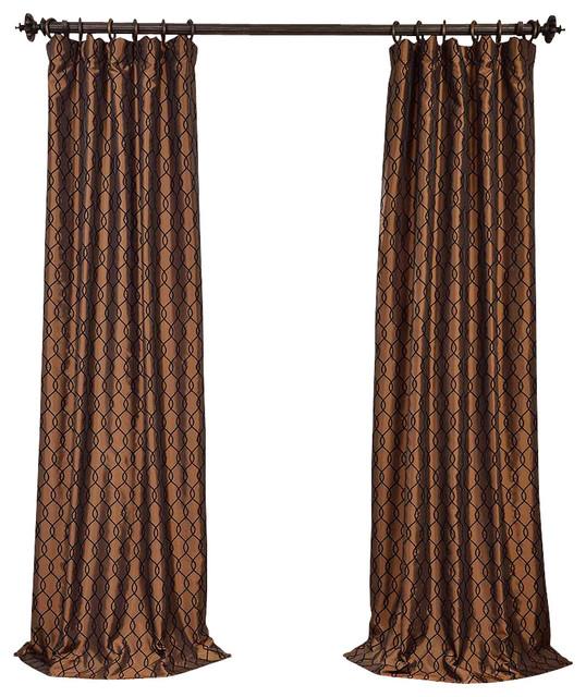 Copper Curtain Wall : Meridian copper brown flocked faux silk curtain