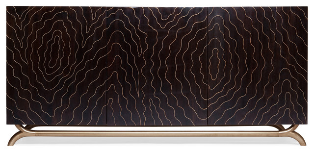Brass Inlay Hollywood Regency Faux Bois Contemporary Media Cabinet contemporary-console-tables