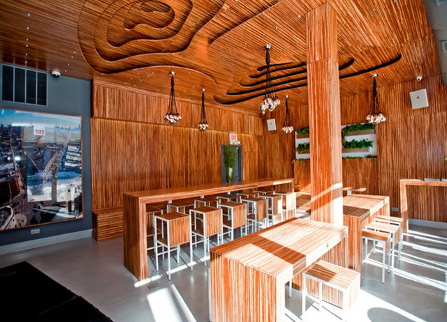 Marbled Bamboo Plywood on Cafe Ceiling, Walls and Countertop eclectic-