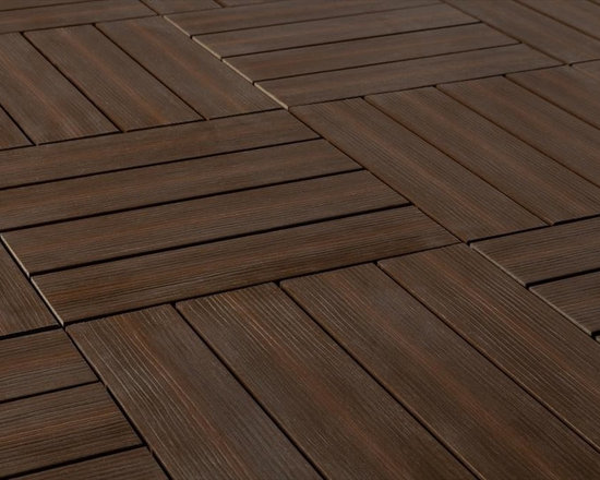 "Kontiki - Kontiki Interlocking Deck Tiles - Composite QuickDeck Series - [10.0 pieces/box] - Chestnut / 12""x12""x1"" -    The striking and multi-tonal nature of real wood in an easily installed composite deck tile is yours in this series on the Kontiki label. This is your way to transform a drab outdoor living surface or a transitioning indoor one in a matter of hours, and do it yourself. For patios, balconies and beyond, creating a stylish space is as easy as can be.    Each composite deck tile is the product of post-consumer and post-industrial manufacturing innovation. The colors and grain patterns are realistic, and are also made to resist the most common types of wear to which any outdoor surface is exposed; fading, scratching, and staining. These are practical outdoor living space surfaces that do not off-gas, do not leech, and are designed to look great for the long-term.     Stylish composite deck tiles you can install yourself _ easily    Making the transition between ��_before��_ and ��_after��_ is very easily done with this series of composite deck tiles. Simply snap them together using a 4-way interlocking system over a stable and flat surface; no special tools, no fuss, right out of the box. When you're done, you'll have a low-maintenance surface that's designed to look great for a long time.    The locking system is raised to allow for maximum drainage during inclement weather, which is one of the keys to their enduring performance. And if you ever decide to re-locate your tiles, that's easy too; it's as easy as installing them. This adds another yet level of re-use and long-lasting surfaces.    Composite deck tiles at best prices    BuildDirect is excited to work with our manufacturing partners who have developed this series of sustainability-minded, highly practical, low-maintenance, and great looking composite deck tiles. Like you, we look for the highest quality in innovative products like this. And we're able to deliver them in innovative ways in order to deliver the greatest p"