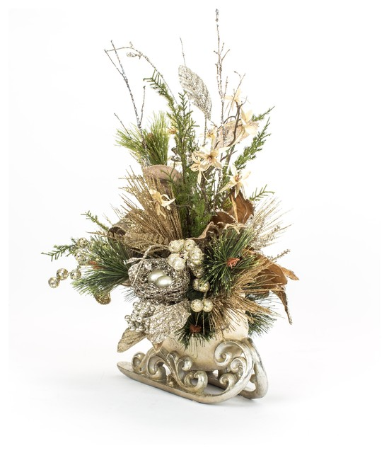 Christmas Silver Sleigh Floral Arrangement Traditional