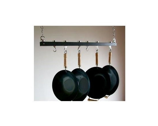 Taylor and Ng - Track Ceiling Pot Rack in Anthracite Grey Fin - Optional eight hanging links. Hanging. Made from wood, steel and cast aluminum. Rectangular shape. Distance from ceiling: 22 in.. Hanging link: 1.13 in. L x 0.19 in. W x 3 in. H (0.38 lbs.). Pot rack with hooks and hanging links: 36 in. L x 4.50 in. W x 1.83 in. H. Pot rack: 36 in. L x 1.63 in. W x 1.50 in. H (4.20 lbs.). Includes mounting hardware, instructions booklet, two 36 in. bars, sixteen hanging links, seven pan hooks, two ceiling mounting, two swivel and end hooks. Assembly required. Made in Taiwan. 360 degree swivel hooks. End hooks with connecting bolts to holds rack together. Mounts directly to ceiling wood joist 16 in. on centerMaximize your ceiling space to store all of your pots and pans. Steel Hanging Links to extend your pot rack from the ceiling.