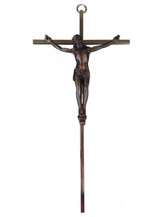 Mid-Century Crucifix - This lovely brass crucifix is from Germany with a mid-century sensibility. It measures 10 inches high by 5 inches wide.