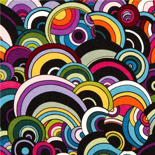Colourful Retro Circle Fabric By Alexander Henry Usa