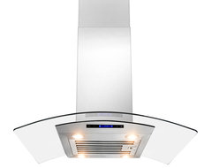 """AKDY AK-ZD01R-IS European Stainless Steel Island Mount Range Hood, 30"""", Duct/Pip contemporary-range-hoods-and-vents"""