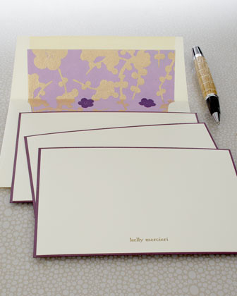 Checkerboard Eight Violet Cards & Envelopes traditional-desk-accessories